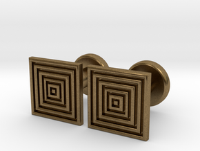 Geometric, Minimalistic Men's Square Cufflinks in Natural Bronze