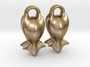 """A fish tail"" Earrings in Polished Gold Steel"