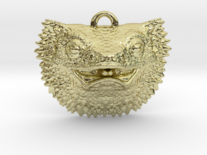 Bearded Dragon Pendant   Charm in 18k Gold Plated Brass