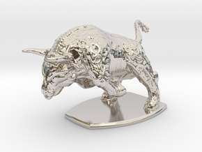 Iron Bull in Rhodium Plated Brass: Small