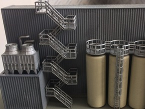 N Scale Staircase H80mm in Smooth Fine Detail Plastic