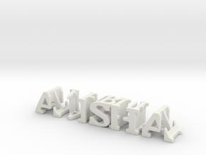 3dWordFlip: alisha/shahrukh in White Natural Versatile Plastic