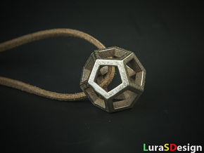 Dodecahedron Pendant in Polished Bronzed Silver Steel