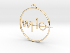 Who Pendant in 14k Gold Plated Brass