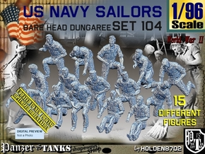 1/96 USN Dungaree Barehead Set 104 in Smooth Fine Detail Plastic