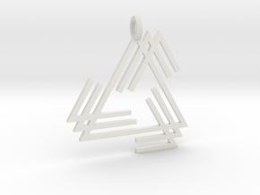 BTriangle Pendant in White Natural Versatile Plastic