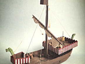Medieval Danish Warship in White Natural Versatile Plastic
