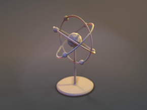 Atom Model in White Natural Versatile Plastic