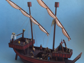 Medieval Ship No Cargo Pegs in White Natural Versatile Plastic