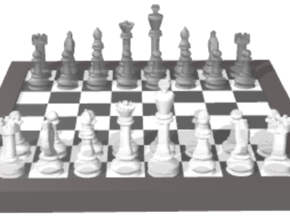 1/18 Chess Board and Pieces (Game Start) in Smooth Fine Detail Plastic