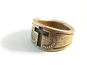 Crusader's Ring in Polished Bronzed Silver Steel: 11 / 64