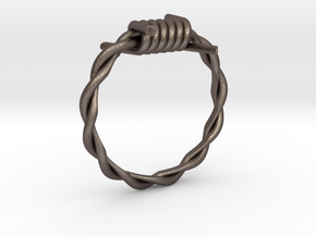 Barbed wire ring in Polished Bronzed Silver Steel