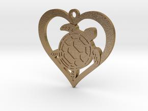 I Love Turtles in Polished Gold Steel
