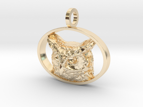 Great Horned Owl Pendant in 14K Yellow Gold