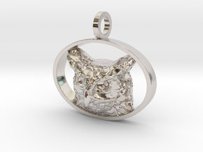 Great Horned Owl Pendant in Rhodium Plated Brass