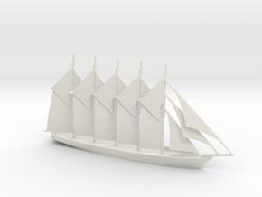 1/700 Five-Masted Schooner in White Natural Versatile Plastic