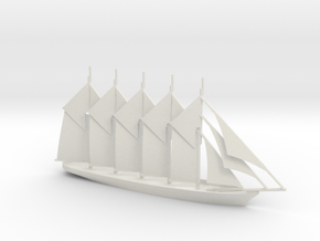 1/700 Five-Masted Schooner in White Natural Versatile Plastic