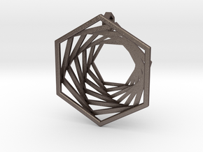 Spiralling Hexagons in Polished Bronzed-Silver Steel