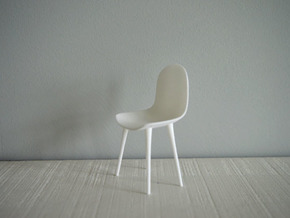 1:12 Chair complete 1 in White Natural Versatile Plastic