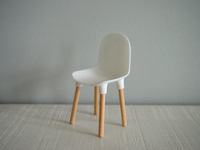 1:12 Chair v1 wooden legs 1 in White Natural Versatile Plastic