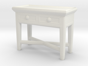 Miniature Console Table 2 Drawers - Dantone Home in White Natural Versatile Plastic: 1:24