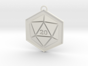 D20 Keychain or Necklace Pendant in White Natural Versatile Plastic