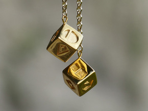 Smuggler's Lucky Sabacc Dice, Han Solo, Star Wars in 14k Gold Plated Brass
