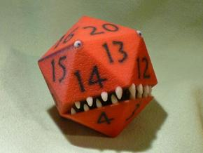D20 Red Monster Figurine in Full Color Sandstone
