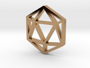 D20 Pendant in Polished Brass