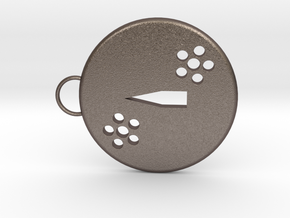 Tsuba Keychain in Polished Bronzed Silver Steel