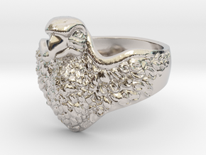 Ring Parrot in Rhodium Plated Brass