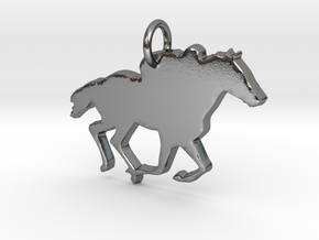 Horse Pendant in Polished Silver