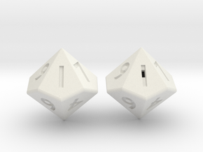 Weighted and Standard D10 Dice Set in White Strong & Flexible