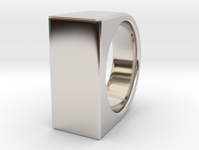Signe Unique V - US10  - Signet Ring in Rhodium Plated Brass