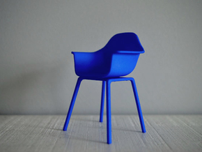 1:12 Chair complete 4 in Blue Processed Versatile Plastic