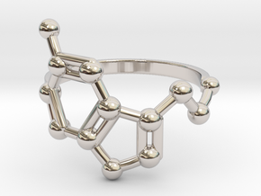 Serotonin (Happiness) Molecule Ring in Rhodium Plated Brass: 6.5 / 52.75