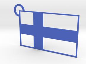 Finland Flag Keychain in Blue Processed Versatile Plastic