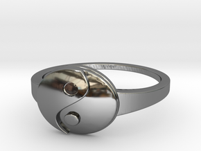 Yin-Yang Ring in Fine Detail Polished Silver
