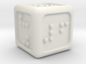 Braille Six-sided Die d6 (Rounded corners) in White Natural Versatile Plastic