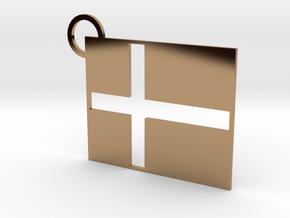 Danish Flag Keychain in Polished Brass