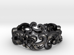 Antique design scroll band size 7 in Polished and Bronzed Black Steel