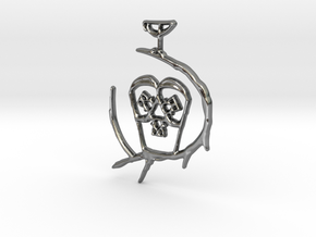 Moma-Owl Ring Keeper Pendant  in Polished Silver