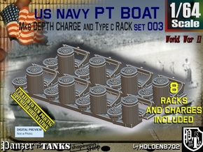 1/64 PT Boat Depth Charge w Rack Set003 in Smooth Fine Detail Plastic