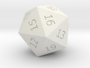 Lucky D20 in White Natural Versatile Plastic