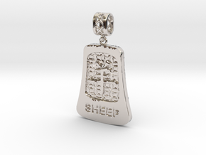 Chinese 12 animals pendant with bail - thesheep in Rhodium Plated Brass
