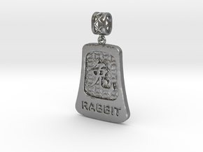 Chinese 12 animals pendant with bail - therabbit in Natural Silver (Interlocking Parts)