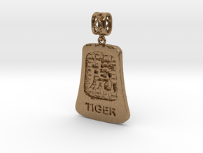 Chinese 12 animals pendant with bail - the tiger in Natural Brass (Interlocking Parts)