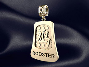 Chinese 12 animals pendant with bail - the rooster in 14k Gold Plated Brass