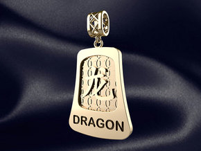 Chinese 12 animals pendant with bail - the dragon in 14k Gold Plated Brass