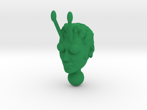 Galactic Guy head without helmet in Green Processed Versatile Plastic
